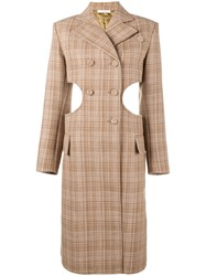 Celine Cutout Check Coat Nude And Neutrals