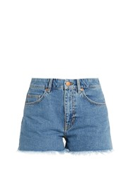 Mih Jeans Halsy Raw Hem Mid Rise Denim Shorts