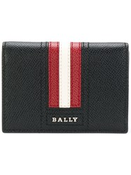 Bally Striped Billfold Cardholder Calf Leather Black