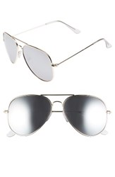 Women's Bp. Mirrored Aviator 57Mm Sunglasses Gold Silver Gold Silver