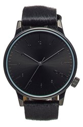 Komono Men's 'Winston Monte Carlo' Genuine Calf Hair Strap Watch 41Mm Pony Black