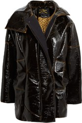 Vivienne Westwood Anglomania Artillery Car Textured Patent Faux Leather Coat Dark Brown