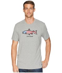 Life Is Good American Fish Crusher Tee Heather Gray T Shirt