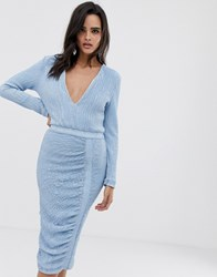 Lavish Alice Sequin Embellished Midi Dress In Sky Blue