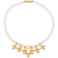 Susan Caplan Vintage 1980S Napier Gold Plated Faux Pearl Collar Necklace Gold White