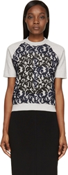 Carven Grey Lace Overlay Short Sleeve Sweater