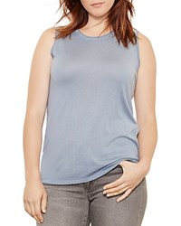 Ralph Lauren Plus Sleeveless Knit Tank Antique Blue