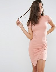 Asos Bodycon Dress With Short Sleeves And Asymmetric Hem Nude Pink