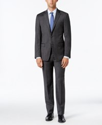 Calvin Klein Men's Extra Slim Fit Charcoal Donegal Suit