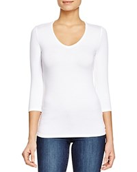 Majestic Filatures Three Quarter Sleeve V Neck Tee Blanc