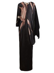 Adriana Degreas Orchid Silk Georgette Kaftan Black Multi