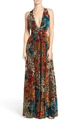 Aidan Mattox Women's Burnout Velvet Gown