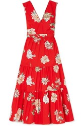 Paul And Joe Jtania Floral Print Cotton Poplin Maxi Dress Red