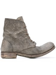 A Diciannoveventitre Distressed Lace Up Boots Grey