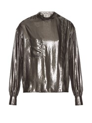 Etoile Isabel Marant Melva Long Sleeved Lame Shirt Silver