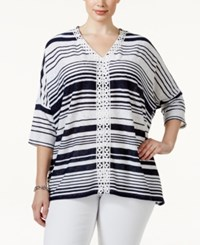 Styleandco. Style And Co. Plus Size Striped V Neck Crochet Trim Poncho Top Only At Macy's