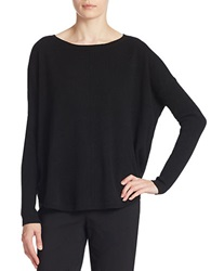 Lord And Taylor Plus Curved Hem Cashmere Sweater Black