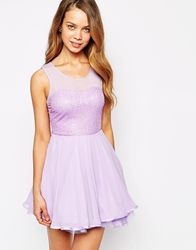 Ax Paris Sequin Skater Dress With Pleated Skirt Lilac