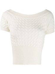 Alexander Mcqueen Off Shoulder Knitted Top White