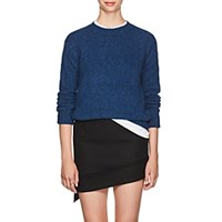Helmut Lang Brushed Wool Blend Crewneck Sweater Blue