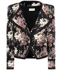 Saint Laurent Wool Blend Jacquard Cropped Jacket Multicoloured