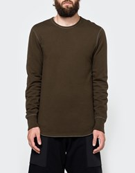 Reigning Champ Scalloped Ls Crewneck In Olive