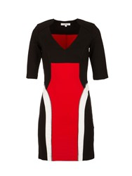 Morgan Knit And Tulle Colorblock Dress Black