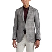 Isaia Dustin Plaid Silk Cashmere Two Button Sportcoat Light Pastel Gray
