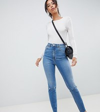 Asos Design Tall Farleigh High Waist Slim Mom Jeans In Mid Stonewash Blue With Rips Mid Stone Wash Blue