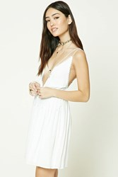 Forever 21 Crochet Paneled Mini Dress Cream