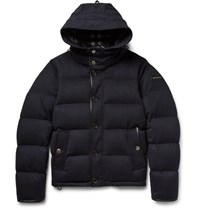 Burberry Water Repellent Quilted Cashmere Down Jacket Navy