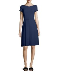a9ab57fcd8c Loro Piana Claudette V Neck Cap Sleeve Belted A Line Dress Navy