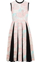 House Of Holland Palm Leaf Jersey Trimmed Jacquard And Fil Coupe Dress Baby Pink