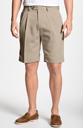 Men's Big And Tall Cutter And Buck Double Pleated Microfiber Twill Shorts Sand