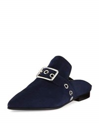 Robert Clergerie Lopal Suede Buckle Loafer Mule Navy