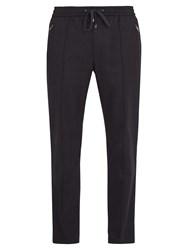 Dolce And Gabbana Drawstring Waist Stretch Wool Trousers Navy