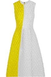 Roksanda Ilincic Color Block Matelasse A Line Dress Yellow