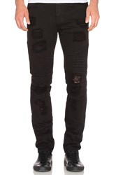 Stampd Distressed Moto Denim Black