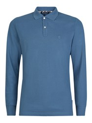 Aquascutum London Hilton Long Sleeve Polo Shirt Blue