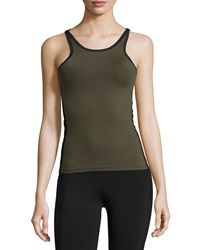 Solow Mesh Trim Performance Tank Army