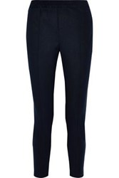 Charli Woman Cecile Cropped Velvet Trimmed Stretch Twill Slim Leg Pants Navy