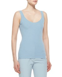 The Row Scoop Neck Wool Silk Tank Top Nile Blue