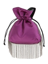 Les Petits Joueurs Nano Trilly Embellished Satin Clutch Purple