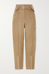Iro Tria Cropped Belted Linen And Cotton Blend Straight Leg Pants Army Green
