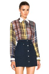 Preen Line Tara Shirt In Red Yellow Checkered And Plaid Red Yellow Checkered And Plaid