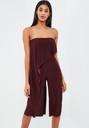Missguided Burgundy Asymmetric Double Layer Culotte Jumpsuit Animal