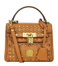 Mcm Embellished Mini Heritage Satchel Female Cognac