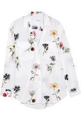 Equipment Ansley Floral Print Washed Silk Shirt White