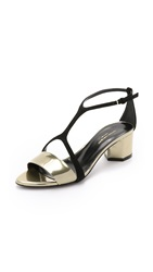 Narciso Rodriguez Lina T Bar Sandals Gold Black