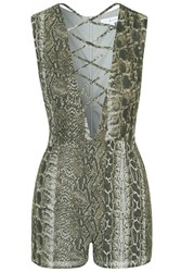 Snake Printed Lace Plunge Playsuit By Rare Multi
